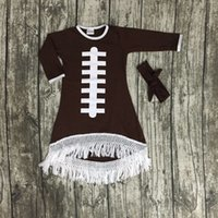 baby dress design - 2016 Fall baby girls new design football cotton brown dresses soccer season tassel dress long sleeves with matching bow set