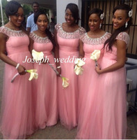 Wholesale 2016 Cheap Pink Summer Beach Illusion Formal Maid of Honor Bridesmaid Dress Brides Maid Dress Women Gown ZBD