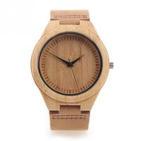 bamboo watch - 2016 New Unisex Bamboo Wooden Creative Watch Quality Leather Strap Quartz Watches Stylish Round Dial Wrist Watch For Men Women Specail Gift