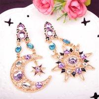 asymmetric earring - Women Elegant Lady Bohemia Moon Star Rhinestone Stud Earrings Party Jewelry Asymmetric Earrings Valentine Gift