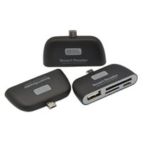 Gros-2pcs / lot 4 en 1 OTG / TF / SD lecteur Smart Card Adapter avec port de charge Micro USB pour téléphone intelligent qui soutiennent la livraison gratuite OTG