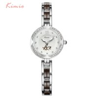 Dress Women's Luminous Quartz Watches Women Fashion Watch 2016 Love Pattern Exquisite Diamond Bracelet Ceramic Watch Brand Kimio Luminous Whatch Women