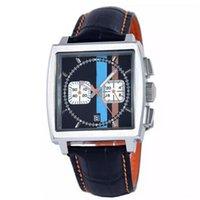 auto flag - sponsored supplier New brand watches men monaco quartz chronograph watch color flag original bracelet leather belts Watch Men dress Watches