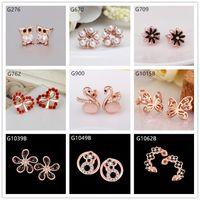 owl earrings - Burst models pairs mixed style women s butterfly swan owl crystal gemstone k rose gold earring GTG27 cheap rose gold stud earrings