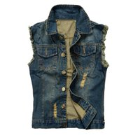 Wholesale Fall Jean Jacket Mens Denim Vest Plus Size XL XL Jeans Waistcoat Men Cowboy Brand Sleeveless Jacket Male Tank Top J740