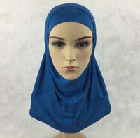 Wholesale Free Fast Shipping Plain Amira Hijab For Kids Pure Color Muslim Cotton Jersey Scarves Islamic Clothing Khimar Jilbab