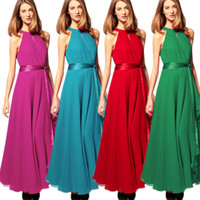 Wholesale Summer Sexy Solid Red Sleeveless O Neck Chiffon Off The Shoulder party Irregular Big Swing Long Maxi Party Dress B0488