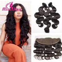 Wholesale Human Hair Bundles With Lace Closure Unprocessed Hair Extensions Peruvian Indian Malaysian Brazilian Body Wave Hair Weave With Frontal