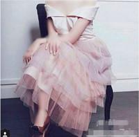 Cheap New 2016 Light Pink Off Shoulder V Neck A line Tiered Pleat Tulle Arabic Dubai Prom Dress Hot Sale Ankle Length Saudi Arabia Evening Dress