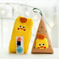 Wholesale Yellow Chicken Girls Fuzzy Cartoon Slipper Socks Christmas Animal Floor Socks Pair Random Style with Gift Box