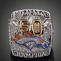 Nueva llegada 2015 Denver Broncos Super Bowl 50 Anillo de Campeonato anillos de réplica para los aficionados al hombre como regalo deportes anillos