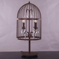 al por mayor mesa antigua forjada-antigüedad óxido forjado mesa de cristal jaula de hierro retro lámparas de gran estilo francés imperio escritorio Hardware de cristal de Restauración de iluminación