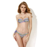 bandeau bikini top xs - 2016Newly Bathing Suit Colloyes Multi Stripe Bandeau swimming set Top with a Sexy Open V Wire at Center Front Bkini Swimwearsuit in COLOUR