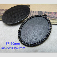 Wholesale Cameo Cabochon Black - 20 Black Cabochon Base Setting,Oval Cameo Picture Frame Charm Pendants 30*40mm,DIY Jewelry Project Findings