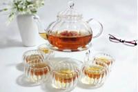 artistic coffee - Tea Set Heat Resisting Glass Teapot W Artistic Lid Cups Round Warmer Pumpkin pot coffee pot set glass clear tea set