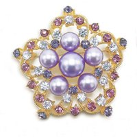 Wholesale Simulated Lavender Pearl Flower Pin Crystal Bridal Wedding Brooch