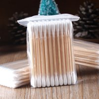 Wholesale 100 High Quality Double Head Health Makeup Cosmetics Ear Clean Jewelry Clean Cotton Swab Stick Wood Cotton