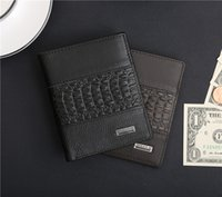 alligator leather goods - Guangzhou leather goods manufacturers direct selling crocodile pattern stitchinfashion simpl Leather Men s crocodile grain Wallet fashion