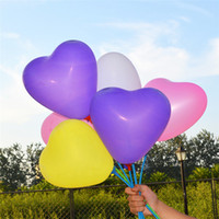 Wholesale 100pcs Latex Heart Shaped Balloons and Holder Sticks Colors Pearl Balloon Wedding Party Happy Birthday Anniversary Decor inch new