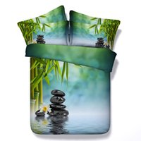 al por mayor hojas de bambú de tamaño queen-Sets de bambú impresos 3D de la secuencia de los arroyos Conjuntos de sábanas gemelos repletos de la reina de la cama de la reina del edredón de las sábanas del edredón para la decoración adulta del dormitorio