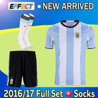Wholesale Full Set COPA Argentina Soccer jerseys DI MARIA KUN AGUERO MASCHERANO Soccer Sets MESSI Football shirts men kits Socks Shorts