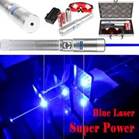 aluminium beams - Silver Aluminium Alloy High Power nm nm Blue Laser Pointer blue Lazer Pen Visible Beam Burn Match Wood Cigarette Battery Charger Box