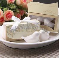 Wholesale DHL set Love Birds Salt and Pepper Shaker Ceramic Beaucoup Wedding Favors Presentes de Casamento Wedding Shower Supplies