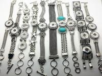 al por mayor botones de ajuste a presión-La joyería intercambiable 10pcs / LOT de la plata de la pulsera de cadena de la pulsera de cadena de la manera de las mujeres mezcló el botón apto del encanto del pedazo del broche de presión del jengibre de NOOSA 18-20m m
