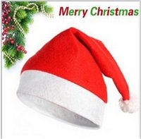Wholesale Christmas Cosplay Hat Cap Non woven Soft Plush Santa Claus Cap Hats Cute Red Kids Adults Senta Caps Hats Christmas Decorations Wear Cloth