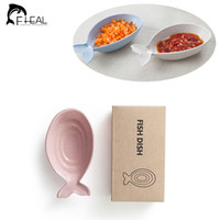 Wholesale Cute Fish Shape Soy Sauce Dish Eco Friendly Wheat Straw Snack Plate Household Sauce Vinegar Dishes