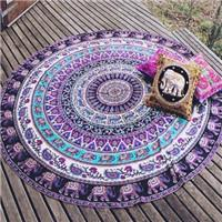 beach towel mat - Indian Mandala Round Beach Blanket Tapestry Hippy Boho Gypsy Cotton Wall hanging throw Tablecloth Beach Towel Round Yoga Mat