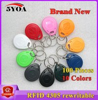 Wholesale 100 EM4305 Copy Rewritable Writable Rewrite EM ID keyfobs RFID Tag Key Ring Card KHZ Proximity Token Access Duplicate