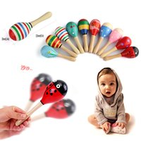 Wholesale Hot Sale Musical Education Unique Wooden Rattle Cute Mini Baby Sand Hammer Baby Toys10pcs