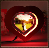 best photo pc - 5 dhl free Magnetic levitation Heart Shaped Floating Photo frame W LED Lights Prefect GIFT best marry gift