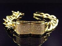 barrel cuff - Icy Simulated Diamond Double Barrel Miami Cuban Link Bracelet Yellow Gold FInish