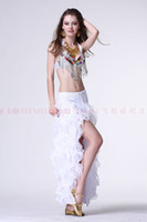 belly dance steps - 2016 New belly dance skirt package hip bright cloth lace high slit skirt slits unilateral step skirt skirt colors