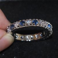 Moda anillos de ajuste Ronda Whiteblue diamante del Zircon de la piedra preciosa de la boda de la eternidad Anillos Bandas para las mujeres 925 pavimenta la joyería