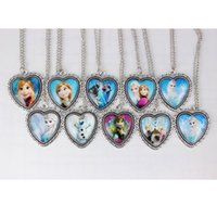 Wholesale New Fashion Frozen Necklaces Jewelry Children Pendant Silver Necklace Jewelry Gift Cartoon Accessories mixed