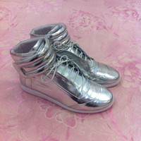Wholesale Maison Martin Margiela mmm sneakers mens shoes silvery genuine leather high top man ankle boots