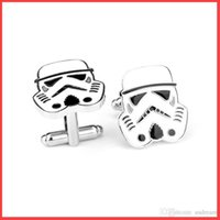 Wholesale 2016 Star Wars cufflink alloy white Stormtrooper knight cuff links for Man women Shirt Cufflinks Cuff Links fashion jewelry