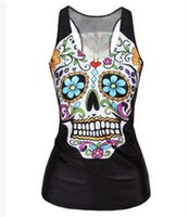 Wholesale The new fashion personality star female hip hop vest and the wind cute skull shirt