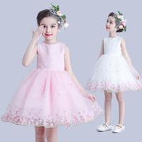 Wholesale Flower Girl Dresses sleeveless Lace Sash Ball Gown Net Baby Girl Birthday Party Christmas Princess Dresses Children Girl Party Dresses