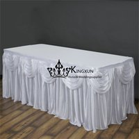 Wholesale White Color Wedding Decortion Ice Silk Table Skirt Table Skirting