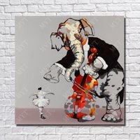 ballet oil paintings - Modern figure abstract sexy girl dancing picture hand painted cartoon elephant and ballet dancer oil paintings