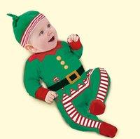 achat en gros de onesies noël-Baby Noël onesies XMAS manches courtes Romper Combinaisons + Hat vêtements pour bébés deux coloris robe de Noël vêtements