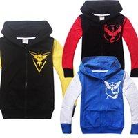 Wholesale Children s Coat Poke mon Go Pokeball Cosplay Boys Hoodies Team Instinct Mystic Valor Kids Casual Sweatshirts