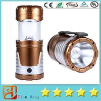 Wholesale 2016 New Retractable Outdoor Tent USB Solar Camping Lamp LED Lantern Light For Hiking Emergencies Outdoor Lighting Folding Lamps