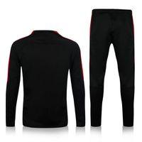 Wholesale Thailand quality PSG black sweater tracksuit set long sleeve match black pant sweater tracksuit set soccer training suit