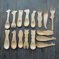 Wholesale 10pcs High Quality Cute Animal Wooden Tea Spoon Creative Tableware Milk Spoon Wood Baby Dinnerware Coffee
