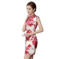 Wholesale 2016 New Arrival Silk Summer Daily Cheongsam Qipao Dress Classical Flower Pattern Red Improved Short Cheongsam Evening Dress QP